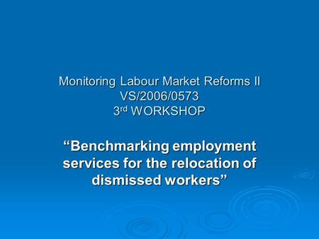 "Monitoring Labour Market Reforms II VS/2006/0573 3 rd WORKSHOP ""Benchmarking employment services for the relocation of dismissed workers"""