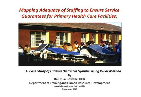 Mapping Adequacy of Staffing to Ensure Service Guarantees for Primary Health Care Facilities: A Case Study of Ludewa District in Njombe using WISN Method.