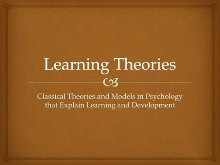 an analysis of classical theories of cognitive development