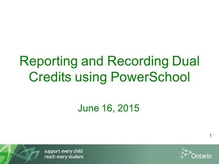 Reporting and Recording Dual Credits using PowerSchool June 16, 2015 1.