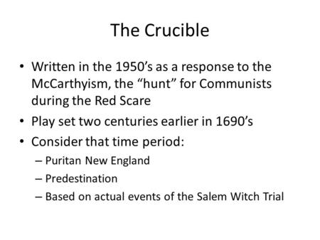How Is The Crucible An Allegory
