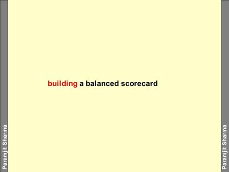 Paramjit Sharma building a balanced scorecard. Paramjit Sharma Imagine an excellent scorecard built by a staff executive or middle management without.