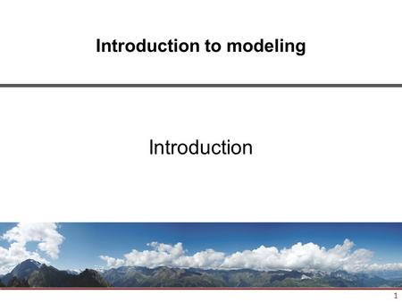 1 Introduction to modeling Introduction. 2 Where are we? #TitleDate 1Introduction01.10.2014 2General concepts15.10.2014 3ORM modeling29.10.2014 4Relational.