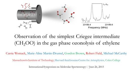Observation of the simplest Criegee intermediate (CH 2 OO) in the gas phase ozonolysis of ethylene Carrie Womack, Marie-Aline Martin-Drumel, Gordon Brown,