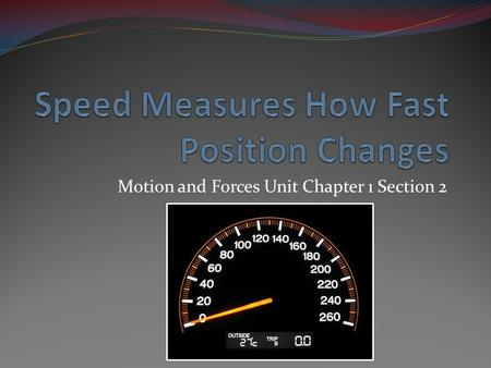 Motion and Forces Unit Chapter 1 Section 2. I1. Position can change at different rates. Can be fast SPEED A measure Can be slow Has a particular distance.