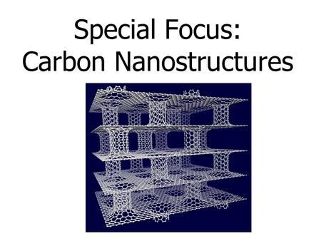 Special Focus: Carbon Nanostructures. Carbon Nanostructures – Buckyballs – Nanotubes SWNT & MWNT (single-walled nanotubes & multi-walled nanotubes) –