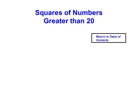 Squares of Numbers Greater than 20 Return to Table of Contents.
