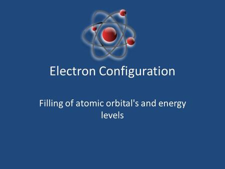 Electron Configuration Filling of atomic orbital's and energy levels.
