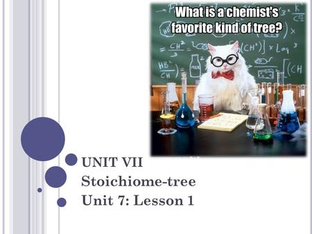 UNIT VII Stoichiome-tree Unit 7: Lesson 1. S TOICHIOMETRY Stoichiometry : The relationship between the amount of reactants used in a chemical reaction.