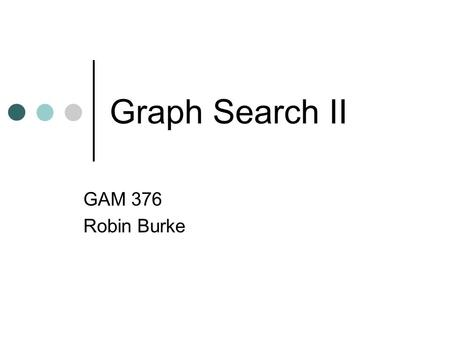 Graph Search II GAM 376 Robin Burke. Outline Homework #3 Graph search review DFS, BFS A* search Iterative beam search IA* search Search in turn-based.