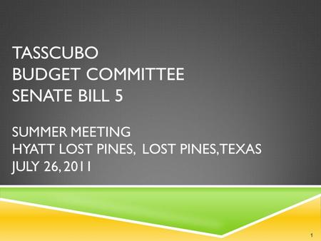 TASSCUBO BUDGET COMMITTEE SENATE BILL 5 SUMMER MEETING HYATT LOST PINES, LOST PINES, TEXAS JULY 26, 2011 1.