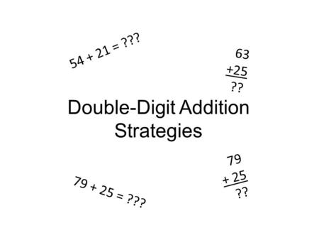 Double-Digit Addition Strategies