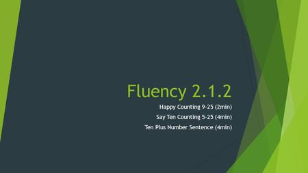 Fluency 2.1.2 Happy Counting 9-25 (2min) Say Ten Counting 5-25 (4min) Ten Plus Number Sentence (4min)