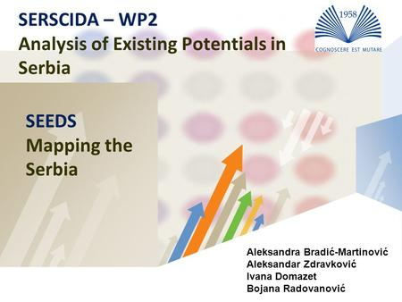 LOGO SERSCIDA – WP2 Analysis of Existing Potentials in Serbia SEEDS Mapping the Serbia Aleksandra Bradić-Martinović Aleksandar Zdravković Ivana Domazet.