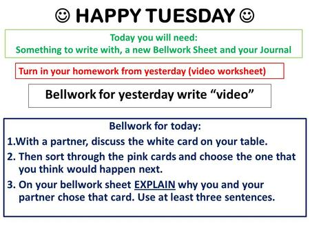 "HAPPY TUESDAY Bellwork for yesterday write ""video"" Today you will need: Something to write with, a new Bellwork Sheet and your Journal Turn in your homework."