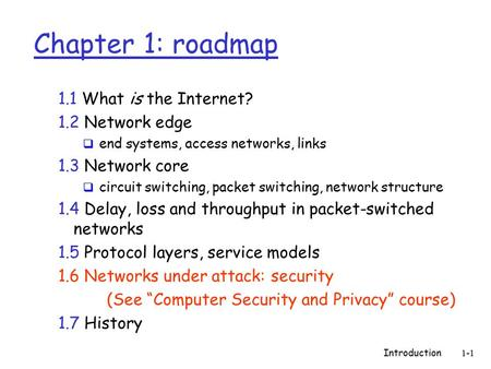 Introduction1-1 Chapter 1: roadmap 1.1 What is the Internet? 1.2 Network edge  end systems, access networks, links 1.3 Network core  circuit switching,