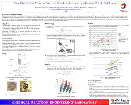 Flow Distribution, Pressure Drop and Liquid Holdup in a High-Pressure Trickle Bed Reactor Arnaud Denecheau, Pascal Leroy, Muthanna H. Al-Dahhan, Milorad.
