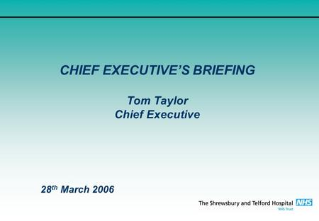 CHIEF EXECUTIVE'S BRIEFING Tom Taylor Chief Executive 28 th March 2006.