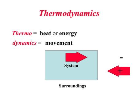 Thermodynamics System Surroundings - + Thermo = dynamics = heat or energy movement.