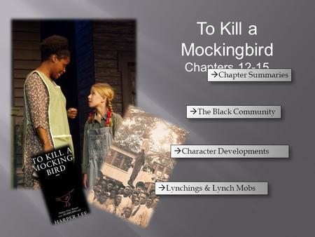 To Kill a Mockingbird Chapters 12-15  Chapter Summaries  The Black Community  Lynchings & Lynch Mobs  Character Developments.