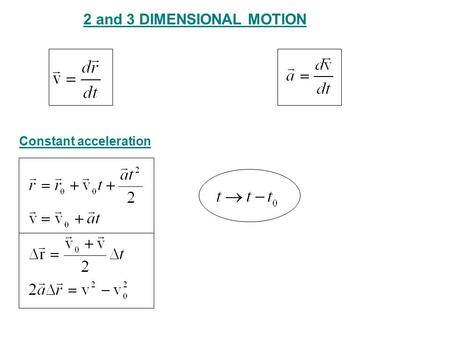 2 and 3 DIMENSIONAL MOTION Constant acceleration.