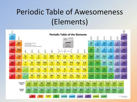 Periodic Table of Awesomeness (Elements)