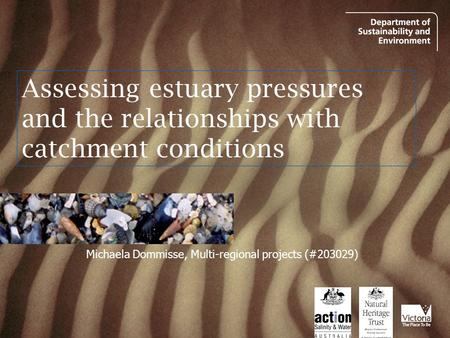 Assessing estuary pressures and the relationships with catchment conditions Michaela Dommisse, Multi-regional projects (#203029)