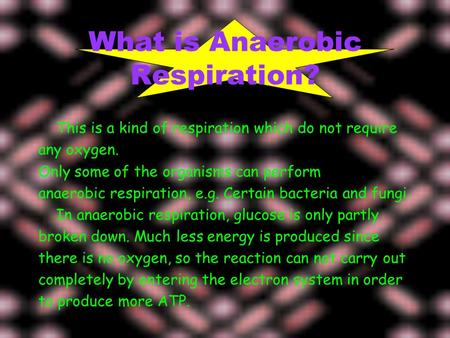What is Anaerobic Respiration? This is a kind of respiration which do not require any oxygen. Only some of the organisms can perform anaerobic respiration,