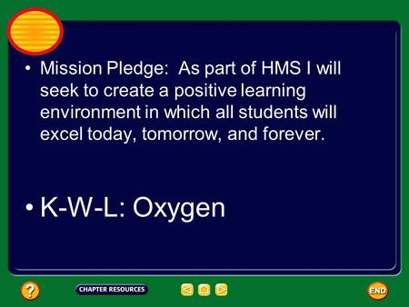 Mission Pledge: As part of HMS I will seek to create a positive learning environment in which all students will excel today, tomorrow, and forever. K-W-L: