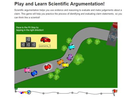  Understanding the way scientists talk when they make a claim  Looking at parts of a scientific argument during a game ◦ Each game is broken up into.