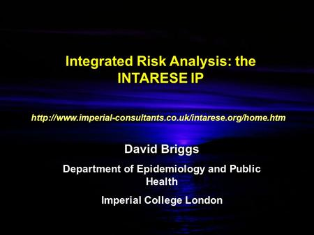 Integrated Risk Analysis: the INTARESE IP David Briggs Department of Epidemiology and Public Health Imperial College London