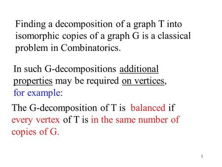1 Finding a decomposition of a graph T into isomorphic copies of a graph G is a classical problem in Combinatorics. The G-decomposition of T is balanced.