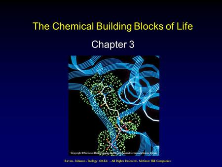 Raven - Johnson - Biology: 6th Ed. - All Rights Reserved - McGraw Hill Companies The Chemical Building Blocks of Life Chapter 3 Copyright © McGraw-Hill.