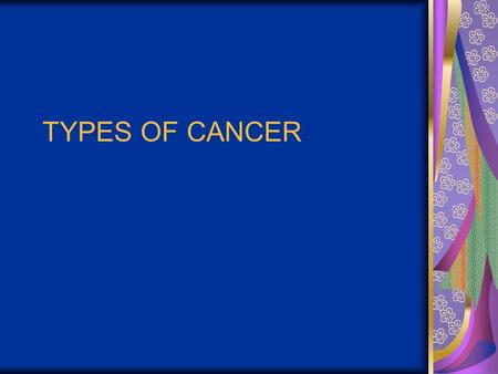 TYPES OF CANCER. BREAST CANCER Malignant neoplasm of the breast Most common malignancy in American women Leading cause of death for women ages 40-55 2/3.