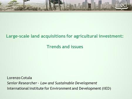 Large-scale land acquisitions for agricultural investment: Trends and issues Lorenzo Cotula Senior Researcher – Law and Sustainable Development International.