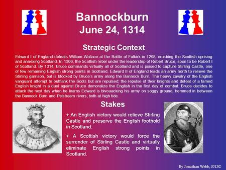 Bannockburn June 24, 1314 Strategic Context Edward I of England defeats William Wallace at the Battle of Falkirk in 1298, crushing the Scottish uprising.