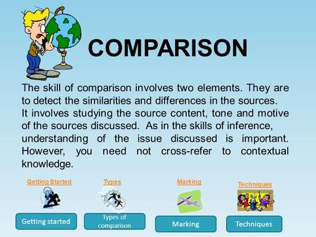 The skill of comparison involves two elements. They are to detect the similarities and differences in the sources. It involves studying the source content,