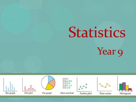 Statistics Year 9. Note 1: Statistical Displays.