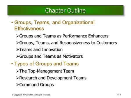 © Copyright McGraw-Hill. All rights reserved.14–1 Chapter Outline Groups, Teams, and Organizational EffectivenessGroups, Teams, and Organizational Effectiveness.