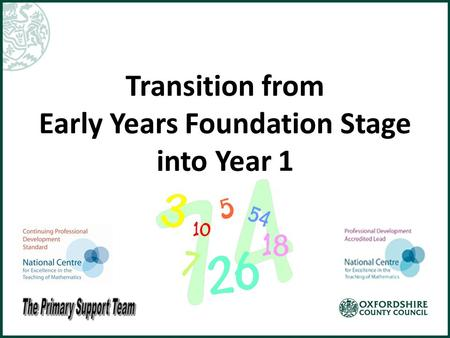 Transition from Early Years Foundation Stage into Year 1.
