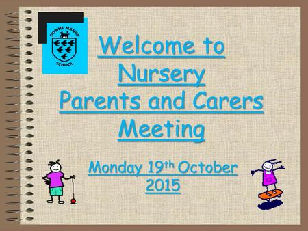 Welcome to Nursery Parents and Carers Meeting Monday 19 th October 2015.