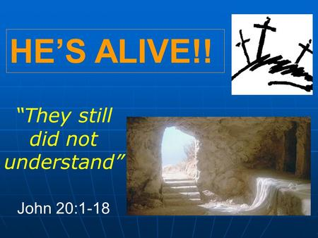 "HE'S ALIVE!! ""They still did not understand"" John 20:1-18."