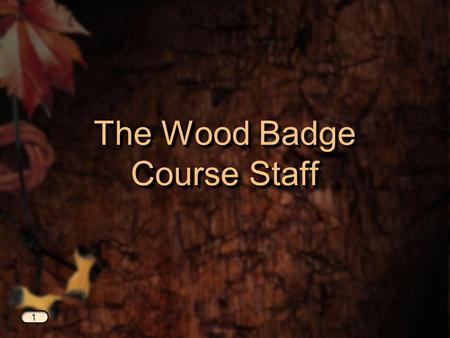 The Wood Badge Course Staff 1. Required Staff Positions Course Director Course Director Assistant Scoutmaster—Program Assistant Scoutmaster—Program Assistant.