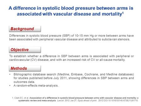 To establish whether a difference in SBP between arms is associated with peripheral or cardiovascular (CV) disease, and with an increased risk of CV or.