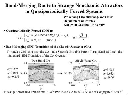 1 Band-Merging Route to Strange Nonchaotic Attractors in Quasiperiodically Forced Systems Woochang Lim and Sang-Yoon Kim Department of Physics Kangwon.