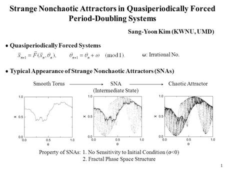 1 Strange Nonchaotic Attractors in Quasiperiodically Forced Period-Doubling Systems  Quasiperiodically Forced Systems  : Irrational No.  Typical Appearance.