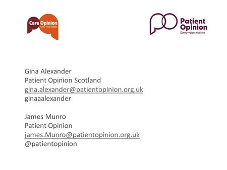 Gina Alexander Patient Opinion Scotland ginaaalexander James Munro Patient Opinion