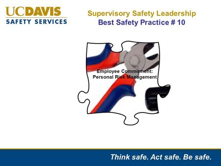 Think safe. Act safe. Be safe. Supervisory Safety Leadership Best Safety Practice # 10 Employee Commitment: Personal Risk Management.