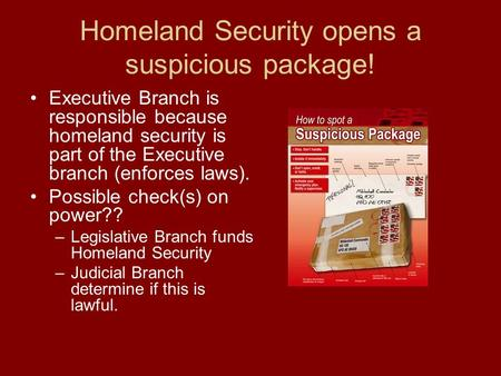 Homeland Security opens a suspicious package! Executive Branch is responsible because homeland security is part of the Executive branch (enforces laws).