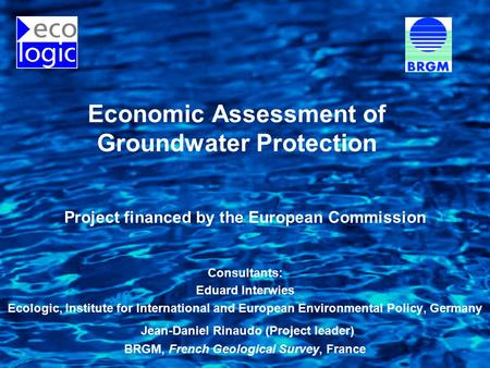 Economic Assessment of Groundwater Protection Project financed by the European Commission Consultants: Eduard Interwies Ecologic, Institute for International.